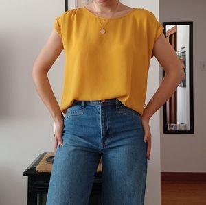 Mustard Yellow Semi Sheer Short Sleeve Top